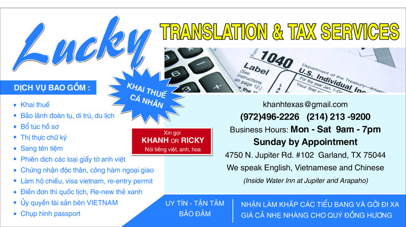 Picture of LUCKY TRANSLATION & TAX SERVICES IN GARLAND, TX