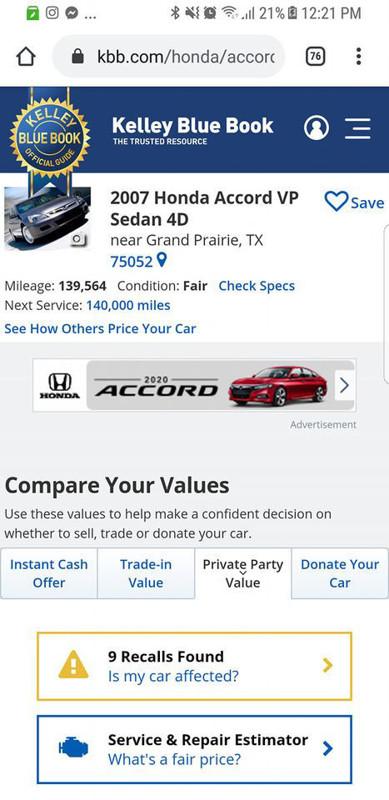 Ảnh của BÁN XE HONDA ACCORD CŨ 139,000 MILES IN ARLINGTON, TX