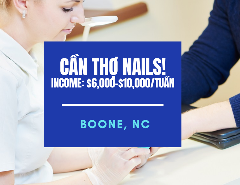 Picture of Cần thợ nails ở Boone, North Carolina. Income/month: $10,000
