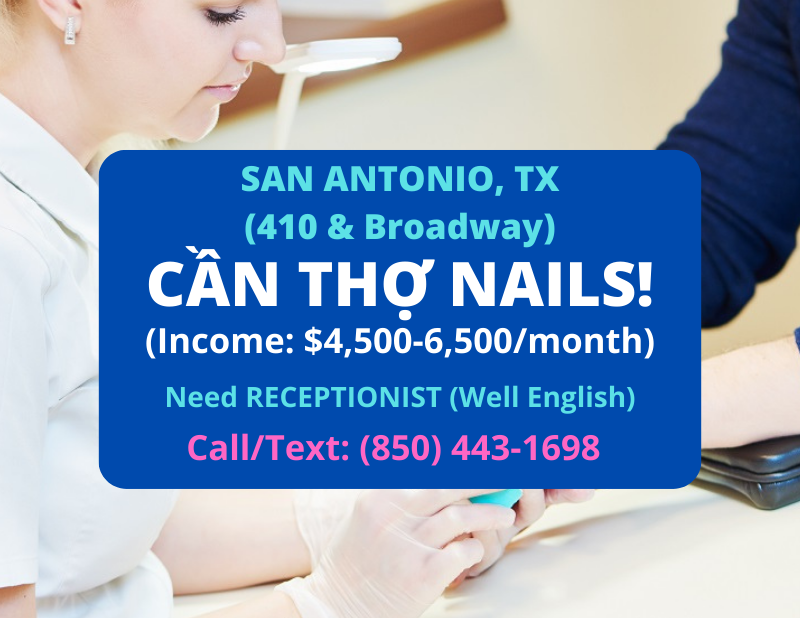 Picture of CẦN THỢ NAILS VÀ RECEPTIONIST Ở SAN ANTONIO TX - HIRING NAIL TECHNICIAN & RECEPTIONIST IN SAN ANTONIO TX