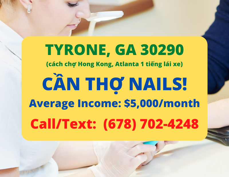 Picture of Cần thợ nails ở Tyrone, GA 30290. Income/month: $5,000