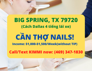 Ảnh của Cần thợ nails ở Big Spring, TX 79720. Thu nhập đảm bảo $1,000-$1,500/w(without tip)