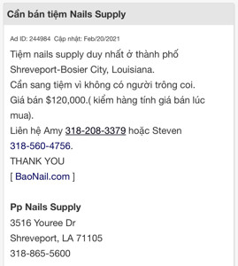 Picture of Cần thợ nails ở tiệm ABC NAILS at Dallas, TX. Income/month: $X,000
