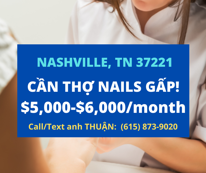 Picture of Cần thợ nails ở tiệm MODERN NAILS SALON In Nashville, TN 37211. Income/month: $6,000