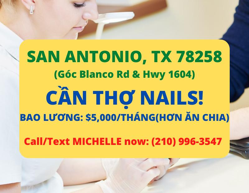 Ảnh của Cần thợ nails ở San Antonio, TX 78258. Bao lương: $5,000/tháng(Hơn Ăn Chia)
