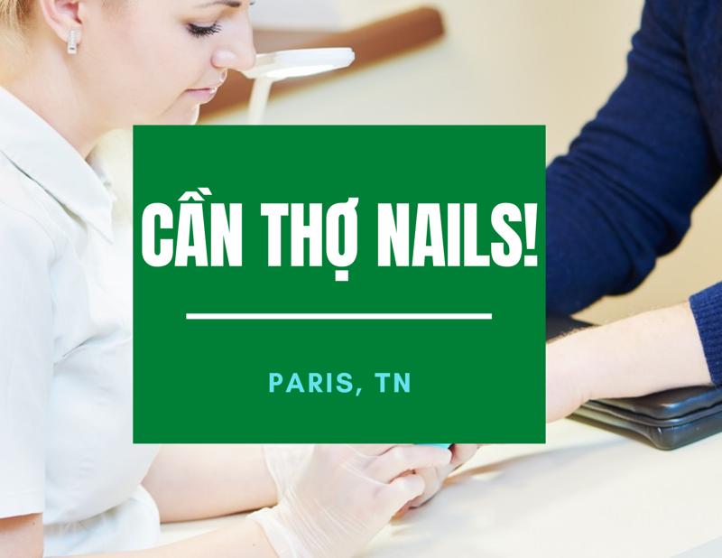 Ảnh của Tiệm nails ở Paris, Tennessee đang CẦN GẤP GẤP… 2 thợ biết làm chân tay nước, gel, dip, bột,… hoặc chân tay nước và gel cũng ok. Lương $1,300 đến $1,800/tuần. Tiệm 99% Mỹ trắng. Xin gọi số 801-413-4610(Cell) hoặc 706-284-5531(Work) để đi làm liền.